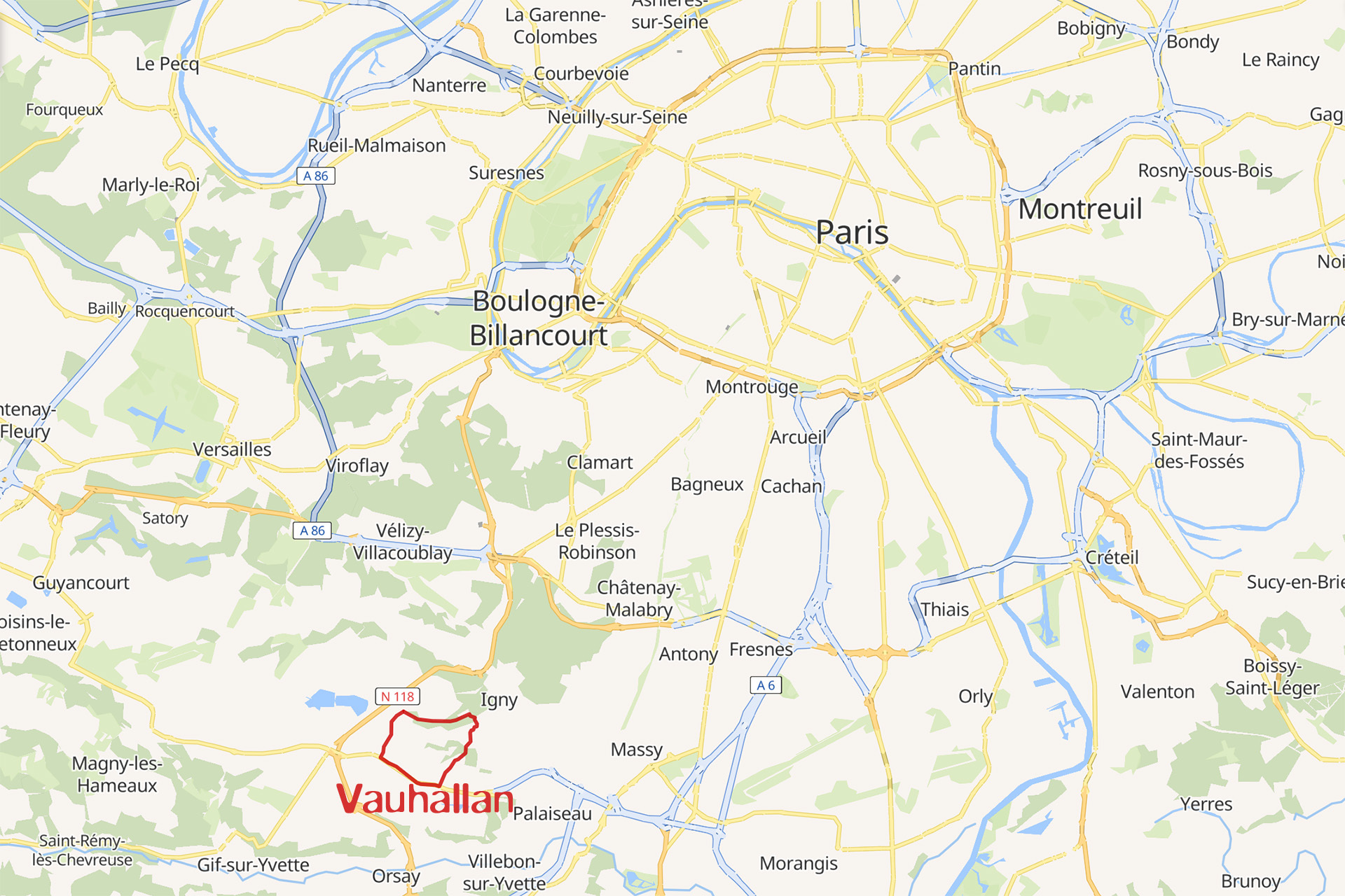 Carte situant Vauhallan en Ile de France
